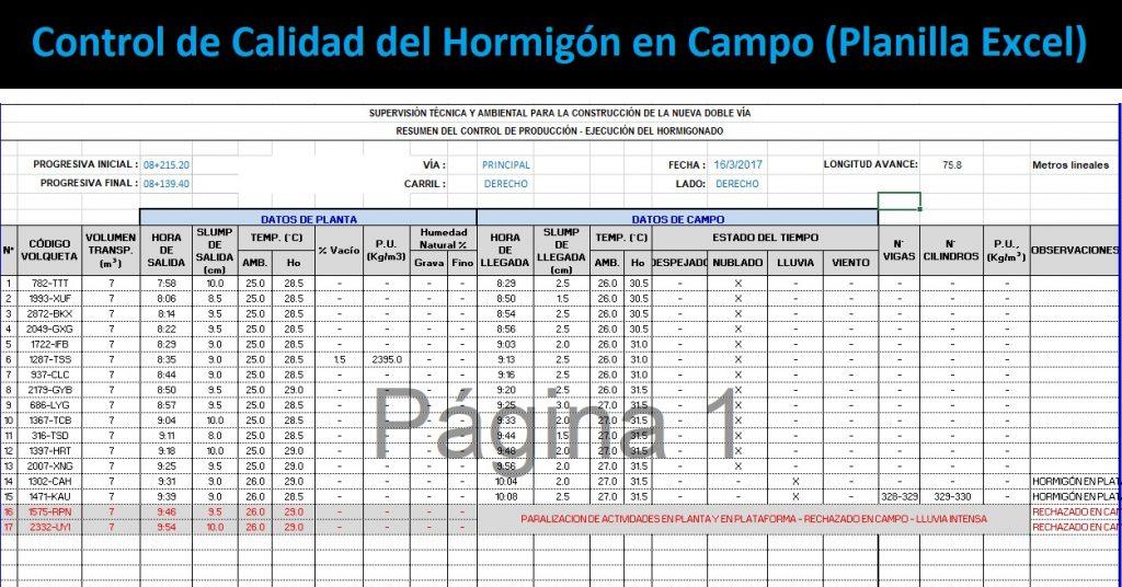 Control de Calidad del Hormigón en Campo Planilla Excel