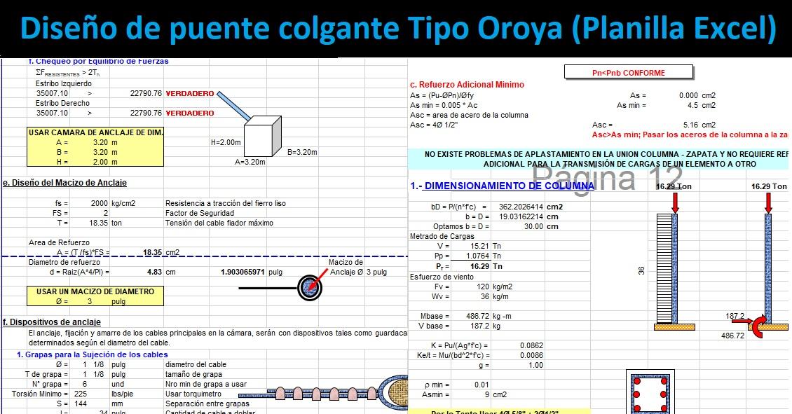 Diseño de puente colgante Tipo Oroya Planilla Excel