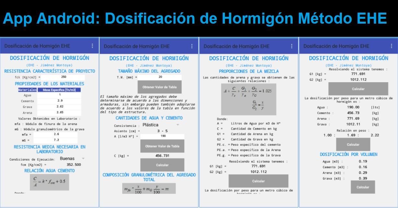 App Android para Dosificación de Hormigón Método EHE