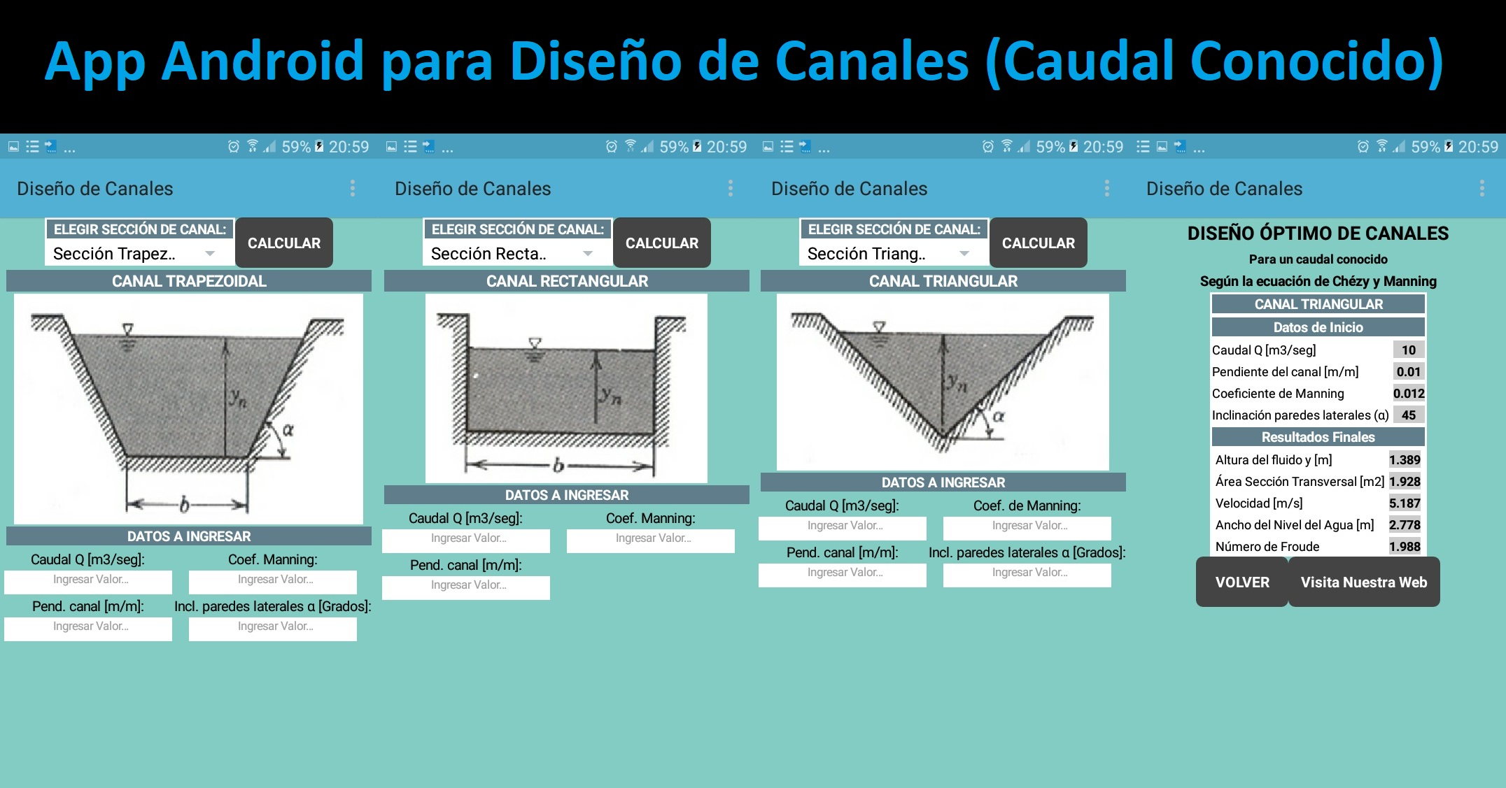 App Android para Diseño de Canales