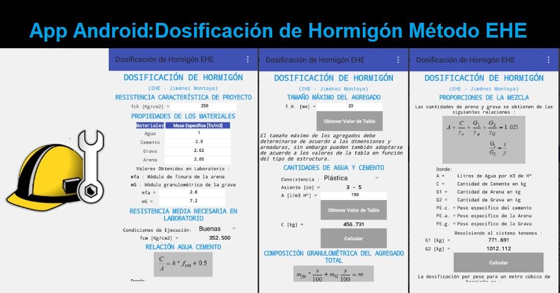 App Android Dosificación de Hormigón Método EHE