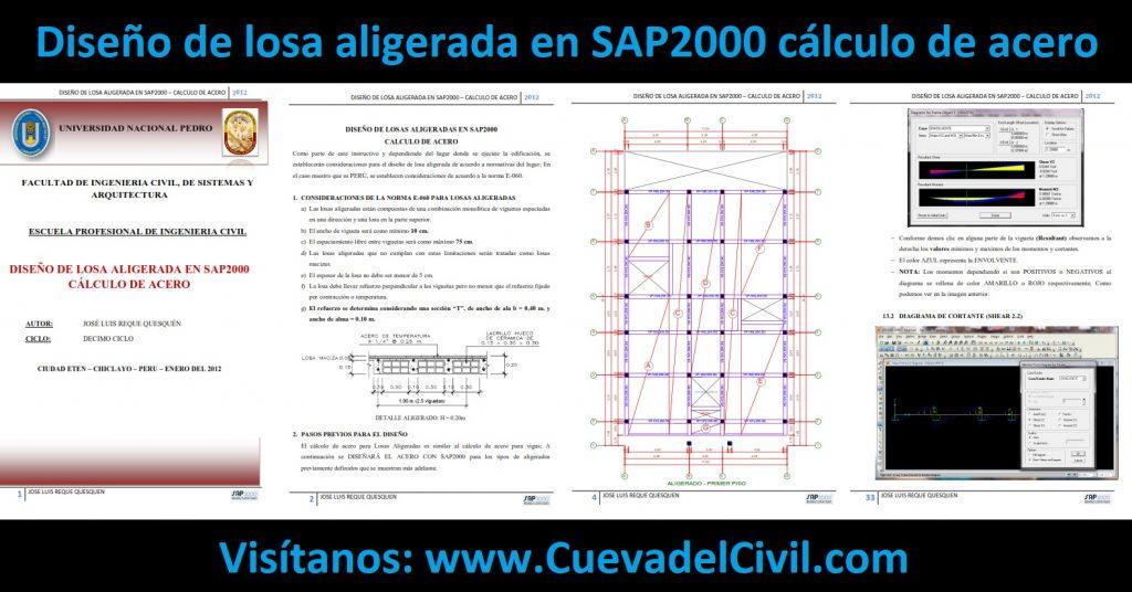 Diseño de losa aligerada en SAP2000 cálculo de acero