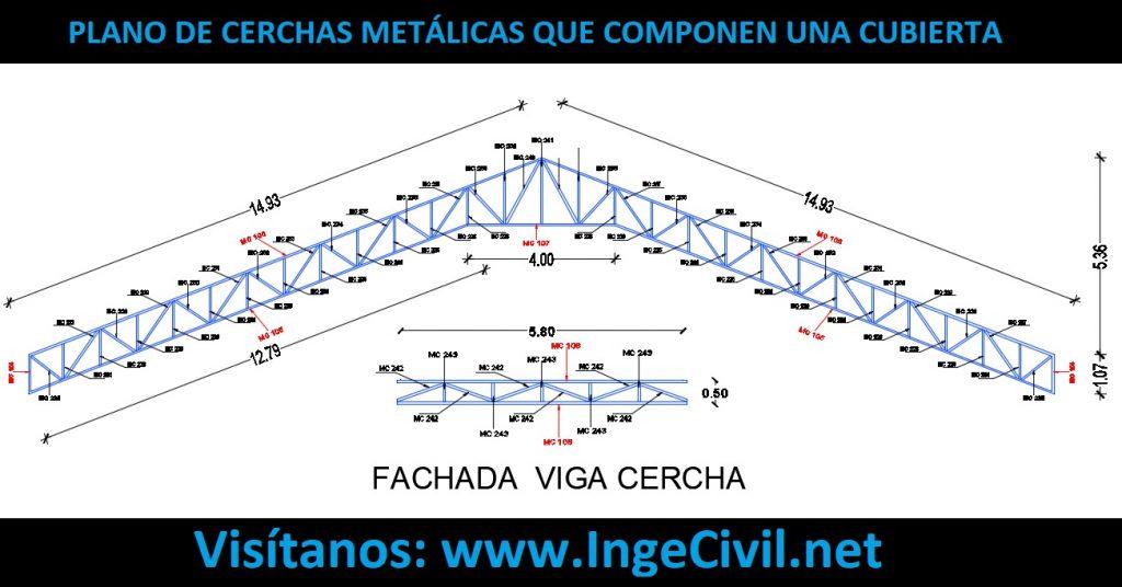 Plano de Cerchas Metálicas que componen una cubierta